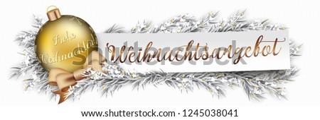 Frohe Weihnachten Frozen Twigs Snowfall Golden Bauble Red Ribbon Stock photo © limbi007