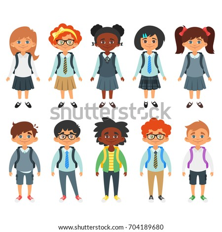 Girl, Child, Kid, Teen Vector. Black. Afro American. Beautiful. Youth, Caucasian. Face Emotions, Var Stock photo © pikepicture