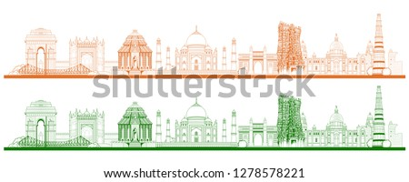 Famous Indian monument and Landmark like Taj Mahal, India Gate, Qutub Minar and Charminar for Happy  Stock photo © vectomart