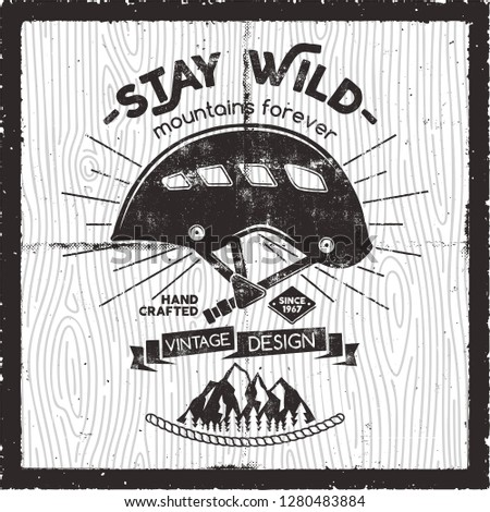 retro travel poster design   stay wild mountains forever quote old school hand drawn t shirt print stock photo © jeksongraphics