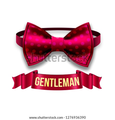Gentleman Label Vector. Design. Elegant Style. Red Ribbon. Bow Tie. Realistic Illustration Stock photo © pikepicture