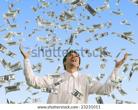Businessman catches money that rains from sky. Concept of success in business Stock photo © alphaspirit
