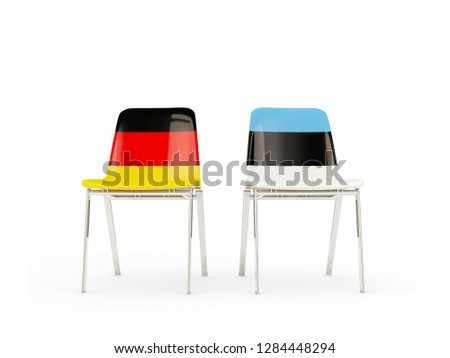 Twee stoelen vlaggen Duitsland Estland geïsoleerd Stockfoto © MikhailMishchenko