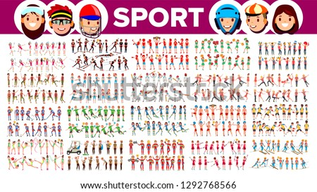 athlete set vector man woman skiing boxing lacrosse table tennis field hockey group of sport stock photo © pikepicture