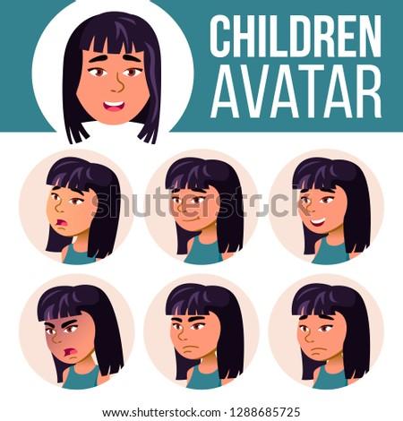 Asian meisje avatar ingesteld vector middelbare school Stockfoto © pikepicture