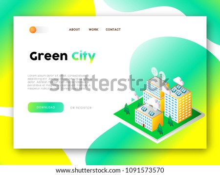 flat isometric vector landing page template of eco city solar panels stock photo © tarikvision