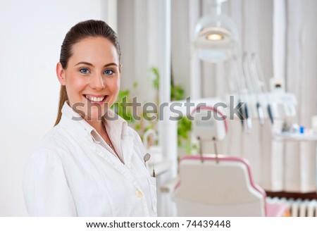 souriant · dentiste · assistant · Homme · patient · portrait - photo stock © artfotodima