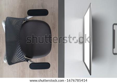 Felső kilátás modern laptop iroda asztal Stock fotó © artjazz