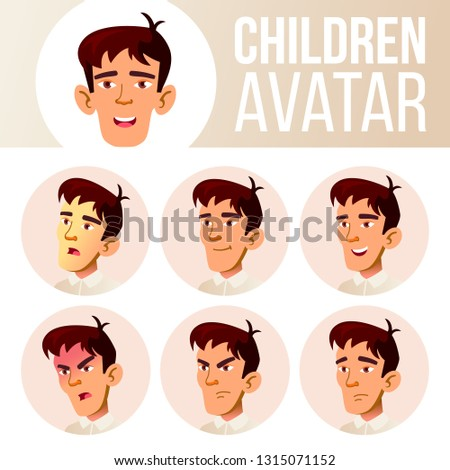 Asian Boy Avatar Set Kid Vector. High School. Face Emotions. Emotions, Emotional. Casual, Friend. Ca Stock photo © pikepicture