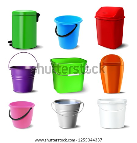 metal bucket vector bucketful different colors classic jar empty office restroom equipment for p stock photo © pikepicture
