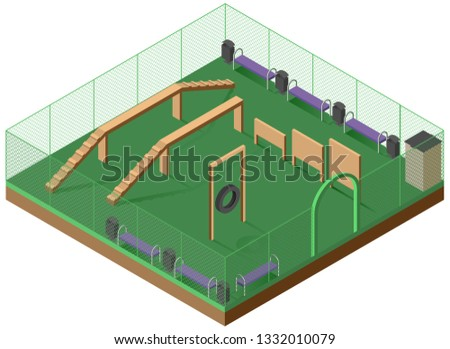 Platform for walking and dog training 3d isometric icon. Playground for dogs Stock photo © orensila