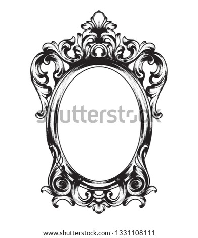 vintage baroque mirror frame vector french luxury rich intricate ornaments victorian royal style d stock photo © frimufilms