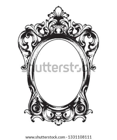 Vintage barroco espelho quadro vetor francês Foto stock © frimufilms