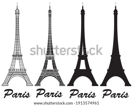 Line art set of European monuments and landmarks, Eiffel tower, Triumphal Arch, Parthenon, Leaning T Stock photo © MarySan