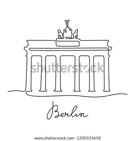 Line art Brandenburg gate, Berlin, Germany, European famous monument, vector illustration in flat st Stock photo © MarySan