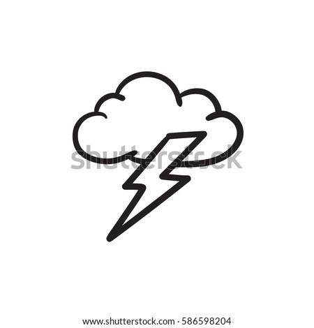 Stock foto: Wolke · Blitz · linear · Symbol · Website · App