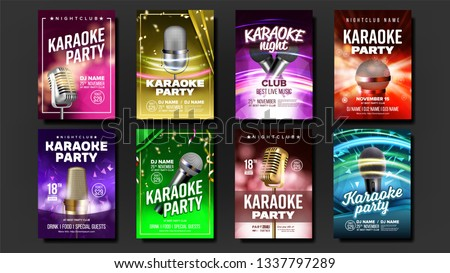 karaoke poster template blank set vector old bar speaker labelentertainment competition party fl stock photo © pikepicture