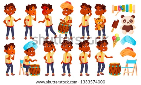 Indian Boy Kindergarten Kid Poses Set Vector. Preschooler Playing. Friendship. For Web, Poster, Book Stock photo © pikepicture