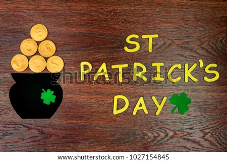 St.Patricks Day. Leprechaun with a pot of gold coins in a forest Stock photo © Natali_Brill