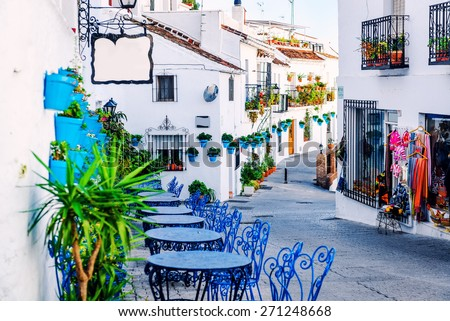 Utca bájos fehér falu déli Spanyolország Stock fotó © amok
