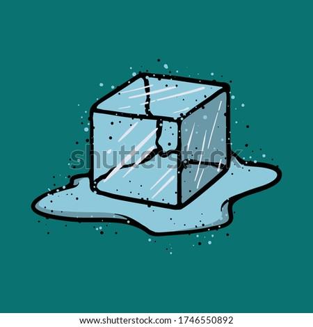 Ice Cube Isolated Transpatrent Vector. Fresh Piece. Square Bright Aqua Symbol. Realistic Illustratio Stock photo © pikepicture