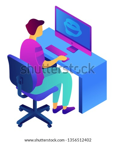 Teenager at computer and cyberbullying isometric 3D illustration. Stock photo © RAStudio