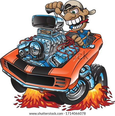 hot · rod · voiture · de · course · moteur · cartoon · énorme · chrome - photo stock © jeff_hobrath