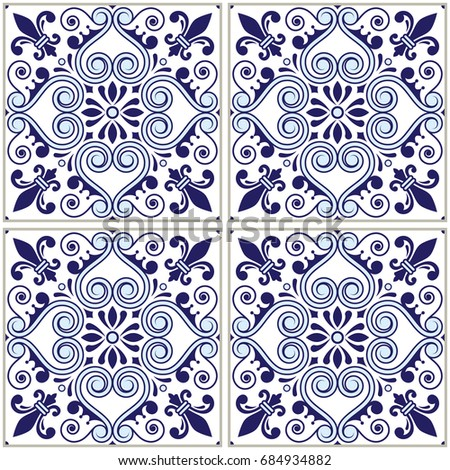 spanish or portuguese tiles vector pattern in navy blue   azulejos tile seamless design stock photo © redkoala