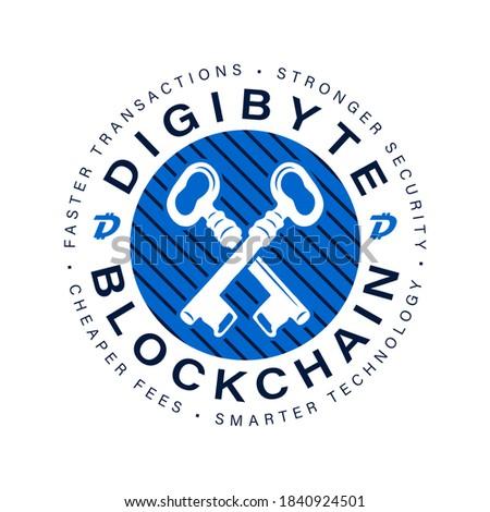 Foto stock: Digibyte blockchain logo mark. DGB Digital asset concept. Crypto emblem. Blockchain technology graph