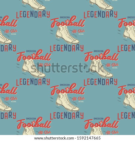 Retro american footnall pattern. College rugby seamless graphic in retro style with old boots and qu Stok fotoğraf © JeksonGraphics