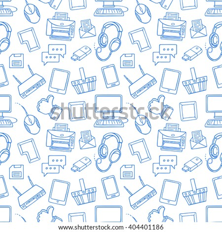 Gadget Device Seamless Pattern Vector. Phone, Laptop. Cute Graphic Texture. Textile Backdrop. Cartoo Foto stock © pikepicture