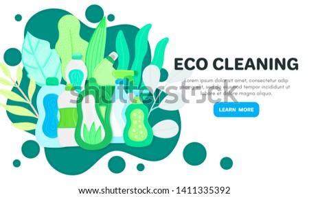 Eco friendly household cleaning supplies in leaves. Natural detergents. Products for house washing Stock photo © user_10144511