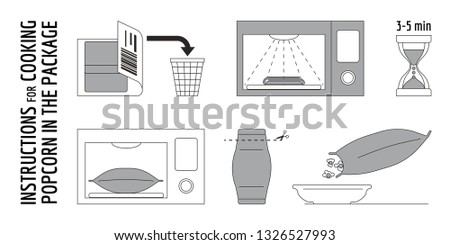 The scheme for self-cooking portioned popcorn in the microwave Stock photo © heliburcka