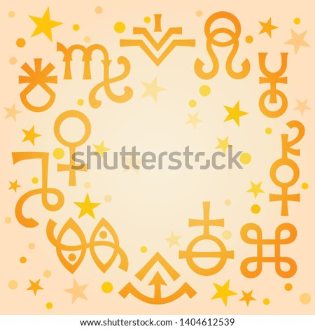 Astrological diadem (astrological signs and occult mystical symbols), black-and-white celestial patt Stock photo © Glasaigh