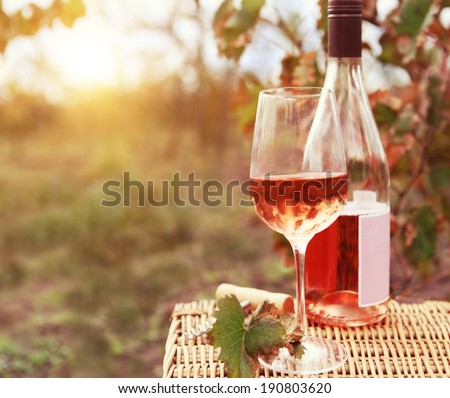 one glass and bottle of rose wine in autumn vineyard on marble t stock photo © dashapetrenko