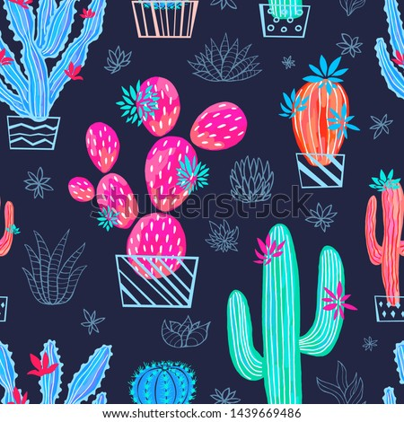 Sketch of a cactus in a nice pot. Vector illustration in sketch style. Stock photo © Arkadivna