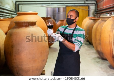 serious professional in winery examining color and quality of red wine stock photo © pressmaster