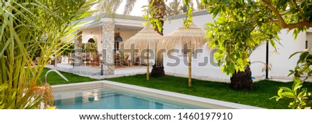 Panoramic image inner garden with private swimming pool straw pa Stock photo © amok