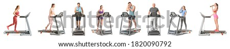 Man running in a gym on a treadmill against the background of a big city. concept for exercising, fi Stock photo © galitskaya