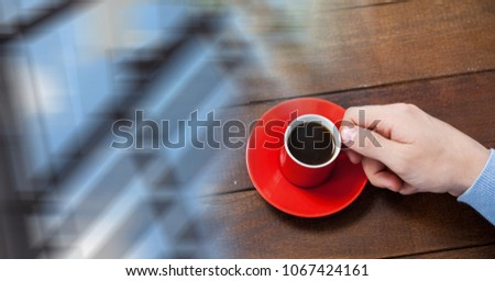 Overhead of hand with red coffee cup and blurry window transition Stock photo © wavebreak_media