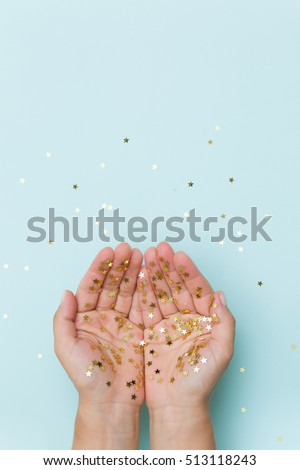 Gold handing shiny glitter glowing star isolated on white background. Vector illustration stock photo © olehsvetiukha