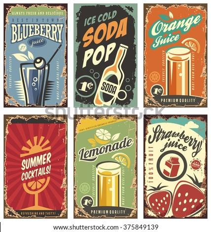Set Jahrgang Grafik Typografie Wand Dekor Stock foto © FoxysGraphic