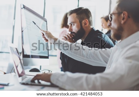 Coworking process, young business managers crew working new star Stock photo © Freedomz