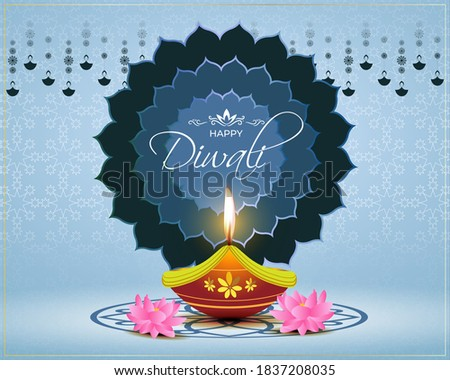 beautiful happy diwali festival sale banner with realistic diya Stock photo © SArts