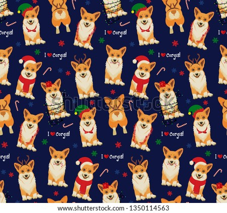funny christmas seamless pattern graphic print for ugly sweater xmas party decoration with gift bo stock photo © jeksongraphics