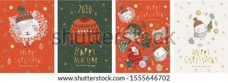 Christmas and New Year Scandinavian bird card Stock photo © cienpies