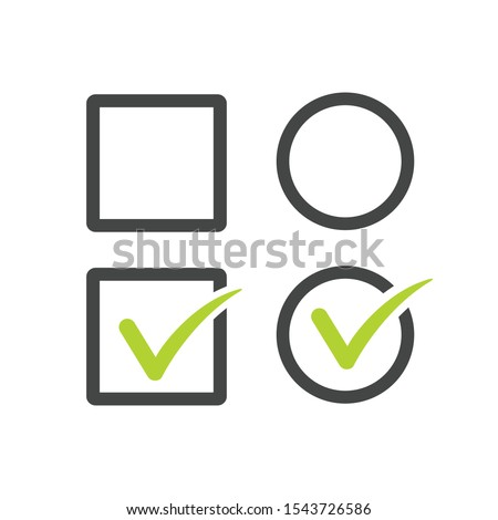Check uncheck, square and round Checkbox set with blank and checked checkbox line art vector icon fo Stock photo © kyryloff