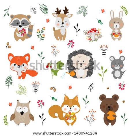 cute forest animals   flat design style set of cartoon characters stock photo © decorwithme