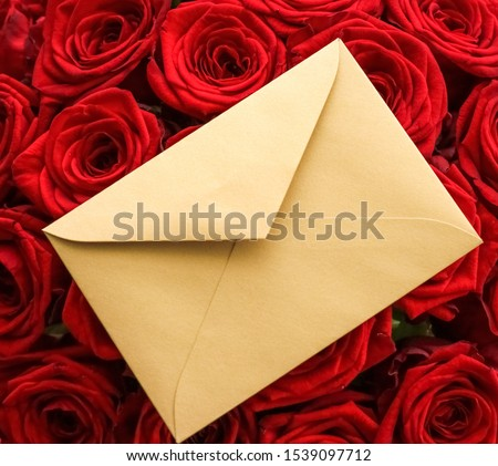 Love letter and flowers delivery on Valentines Day, luxury bouqu Stock photo © Anneleven