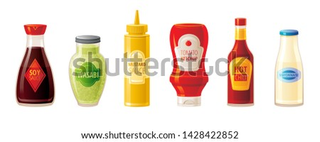 Chili and tomato Vector realistic. Hot sauce ingredients layout template. Menu brochure advertise po Stock photo © frimufilms